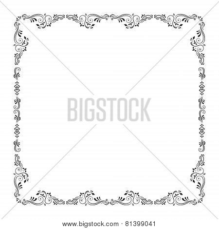 Calligraphic abstract frame. Vector illustration