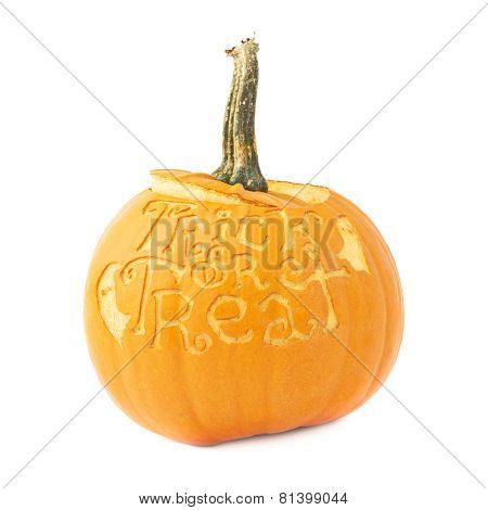Trick or treat Halloween pumpkin isolated