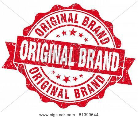 Original Brand Red Grunge Seal Isolated On White