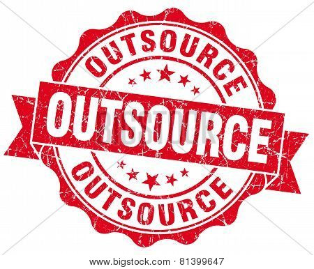 Outsource Red Grunge Seal Isolated On White
