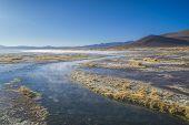 picture of steamy  - Steamy waters of shallow lake in bolivian desert near Salar de Uyuni - JPG