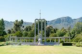 picture of south-western  - Huguenot monument in Franchoek in the Western Cape Province of South Africa commemorating the arrival of the French Huegenots in the 17th century - JPG