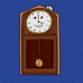 pic of nursery rhyme  - Grandfather clock with Roman numerals and mouse on top - JPG