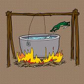 foto of boiling water  - Scared frog jumping out of boiling water in bonfire - JPG