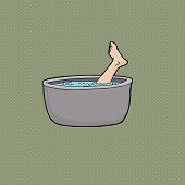 pic of cannibalism  - Human foot sticking out of boiling pot of water - JPG