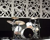 stock photo of drum-set  - Drum kit on the stage of a concert - JPG