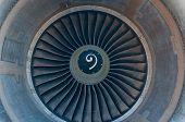 stock photo of rotor plane  - Airplane turbine blades close - JPG