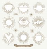 stock photo of emblem  - Vector set of line design emblem - JPG
