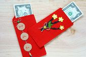 image of  habits  - Habit custom of Vietnamese on Tet is lucky money a Vietnam traditional culture child wish somebody a happy new year receive red envelope with new small change Tet on spring also lunar new year - JPG