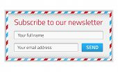 image of newsletter  - Modern newsletter form in airmail design with name and email - JPG