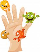 pic of germs  - Vector illustration of Dirty palm with cartoon germs - JPG