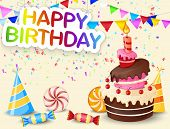 picture of birthday hat  - Vector illustration of Birthday background with birthday cake cartoon - JPG