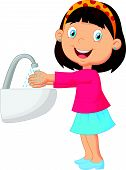 picture of personal hygiene  - Vector illustration of Cute cartoon girl washing her hands - JPG