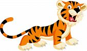 foto of cute tiger  - Vector illustration of Cute tiger cartoon roaring - JPG
