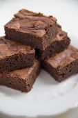 foto of brownie  - Home made Chocolate Brownie on a white plate - JPG