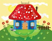 picture of fairy-mushroom  - Card with red mushroom on green grass - JPG