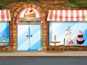 picture of shopping center  - Illustration of a bakery shop with glass windows - JPG