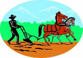 image of horse plowing  - Illustration of farmer and horse plowing farmer field viewed from side with trees and mountains set inside oval shape done in cartoon style on isolated background - JPG