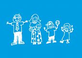 pic of nuclear family  - Inversed doodle artwork of a happy family - JPG
