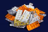 picture of blisters  - Tablets and Pills in Blister and Many Empty Pill Blister Packages - JPG