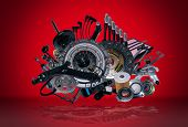 picture of spare  - Many new spare parts for a car - JPG