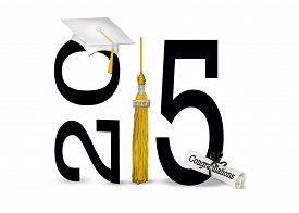 picture of tassels  - White graduation cap with gold tassel and diploma for class of 2015 isolated on white - JPG