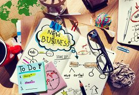 stock photo of messy  - New Business Startup Plan Strategy Aspiration Concept - JPG