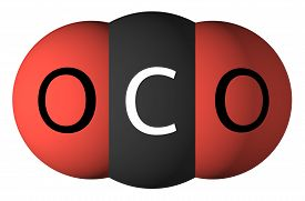 foto of carbon-dioxide  - Carbon dioxide molecule isolated on white - JPG