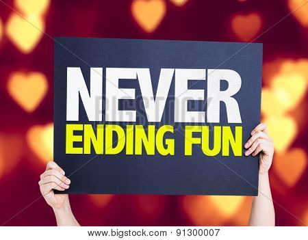 Never Ending Fun card with heart bokeh background