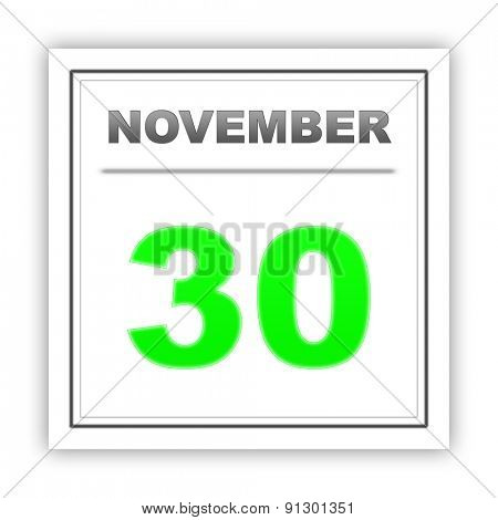 November 30. Day on the calendar. 3d