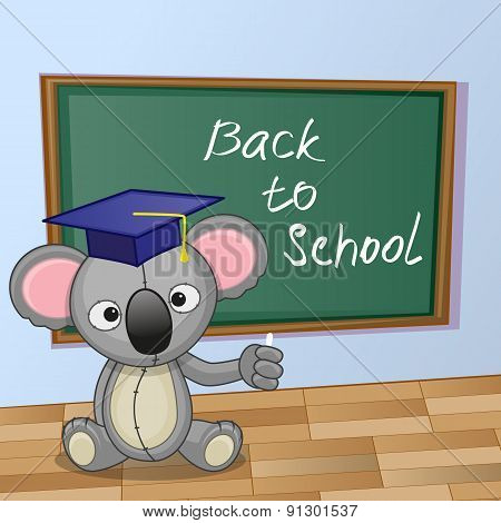 Cartoon Koala Wrote In Classroom