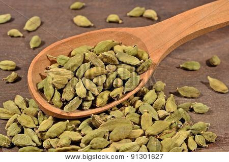 Cardamom Seeds Wooden Spoon