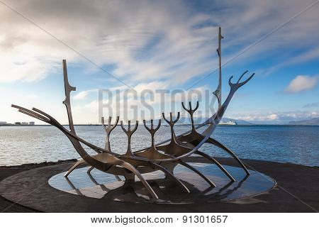 Sun Voyager Monument By The Sea In The Center Of Reykjavik, Iceland
