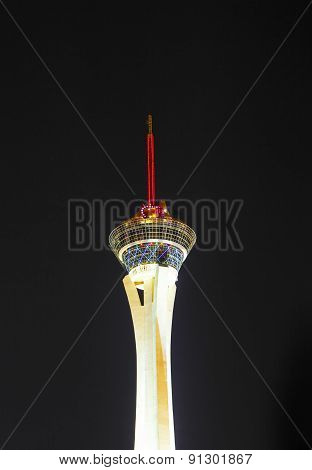 Las Vegas - May 1: Night Lights Of The Sahara Casino & Stratosphere Tower Invites Vacationers To Pla