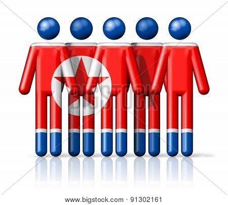 Flag Of North Korea On Stick Figure