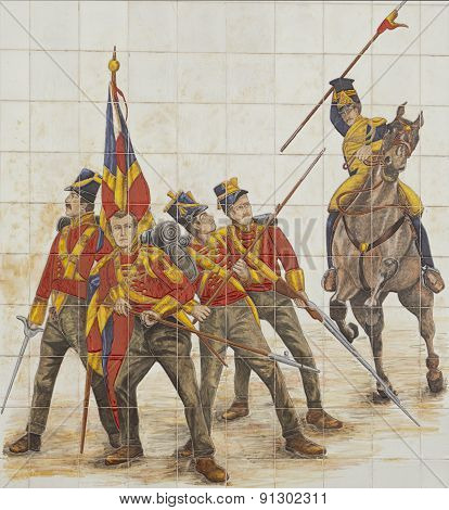 Glazed Tile Picture Of Cavalry Charge