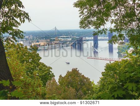 Bridge On Dnieper River In Kiev, Ukraine