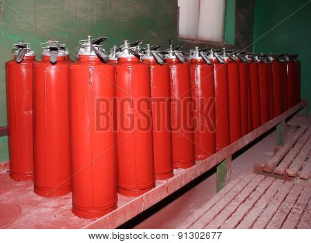 Plant For The Production Of Fire Extinguishers. After Painting
