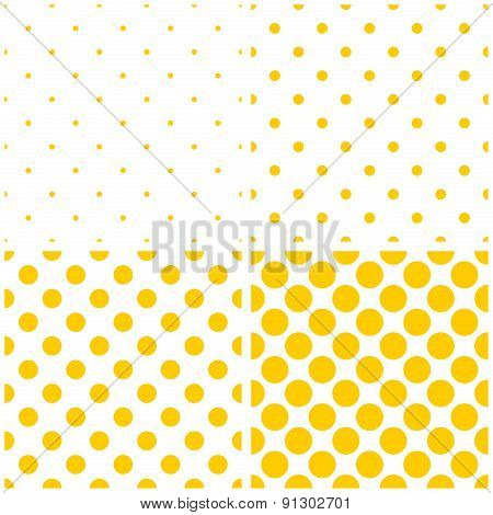Tile vector yellow polka dots on white background pattern set