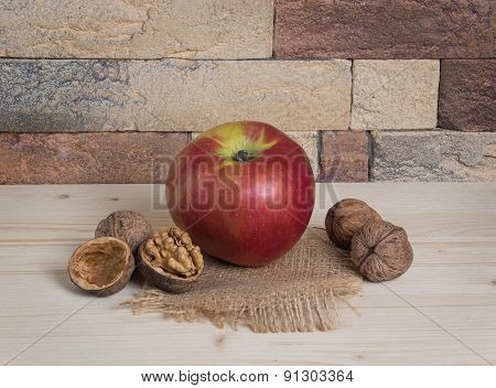 Apple And Walnuts In A Rustic Interior