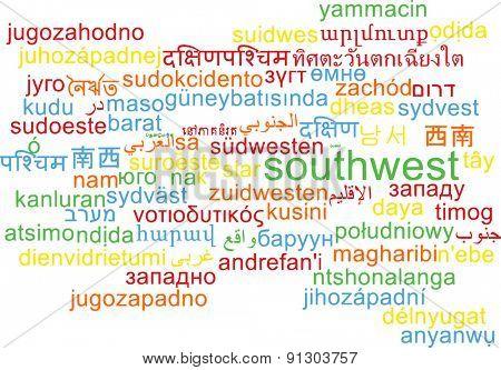 Background concept wordcloud multilanguage international many language illustration of southwest