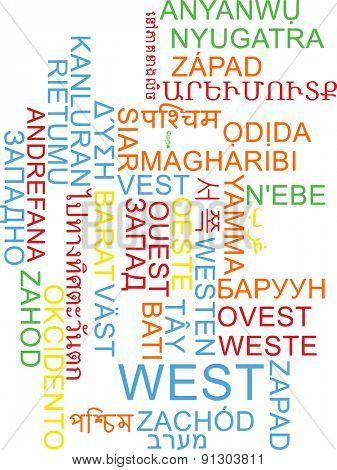 Background concept wordcloud multilanguage international many language illustration of west