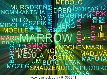 Background concept wordcloud multilanguage international many language illustration of marrow glowing light