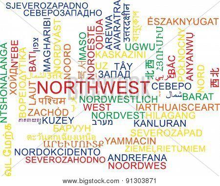 Background concept wordcloud multilanguage international many language illustration of northwest