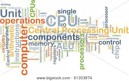 Background concept wordcloud illustration of central processing unit CPU