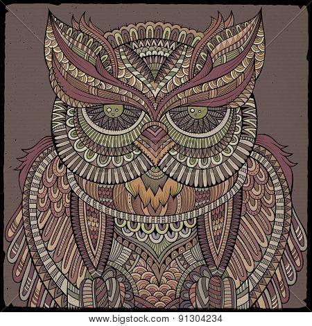 Decorative ornamental Owl. Vector illustration