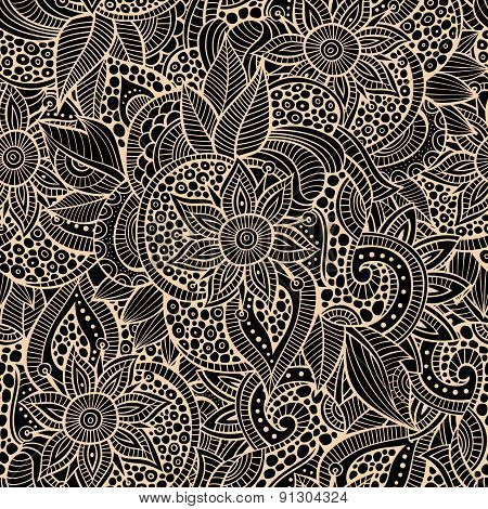 Sketchy doodles decorative floral ornamental seamless pattern
