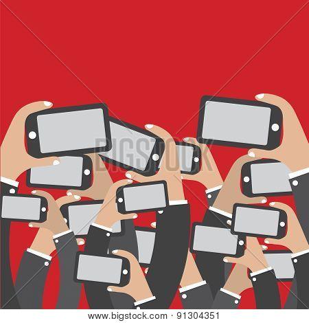Smartphones In Hands Social Network Concept.