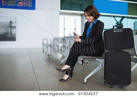 Business lady in waiting room