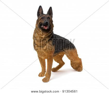 German Shepherd Figurine Isolated On White Background